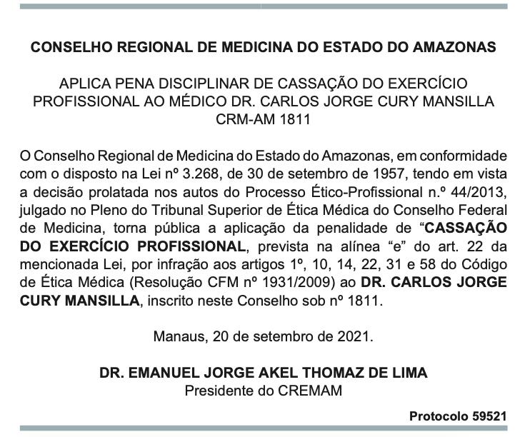 Conselho de Medicina do Amazonas publica cassação de registro de Carlos Jorge Cury Mansilla