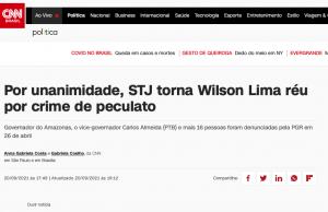 Imprensa nacional destaca que Wilson Lima virou réu por desvio de dinheiro público